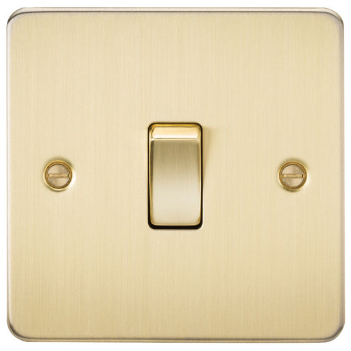Brushed Brass 10A 1G Flat Plate Two-Way Switch - Steel City Lighting