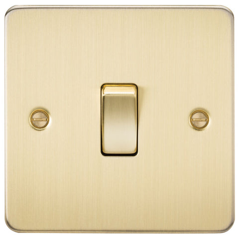 Brushed Brass 10A 1G Flat Plate Two-Way Switch