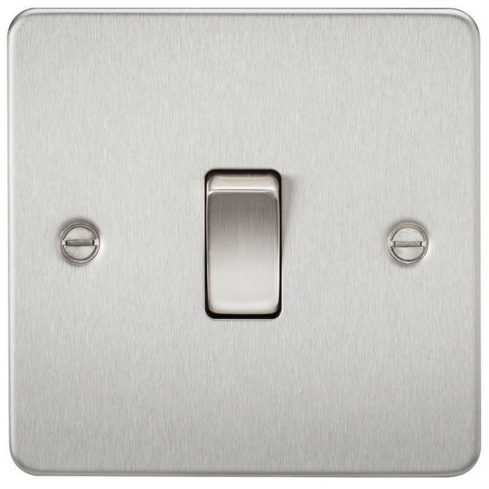 Brushed Chrome 10A 1G Flat Plate Two-Way Switch - Steel City Lighting