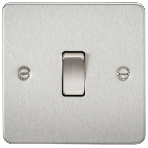 Brushed Chrome 10A 1G Flat Plate Two-Way Switch