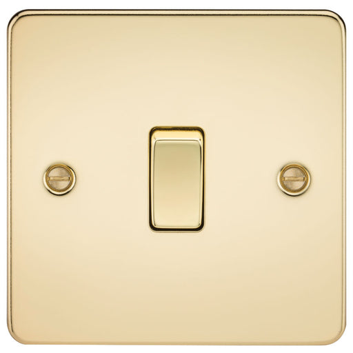 Polished Brass 10A 1G Flat Plate Two-Way Switch - Steel City Lighting