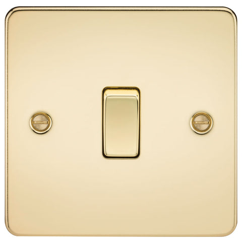 Polished Brass 10A 1G Flat Plate Two-Way Switch
