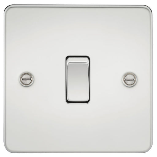 Polished Chrome 10A 1G Flat Plate Two-Way Switch - Steel City Lighting