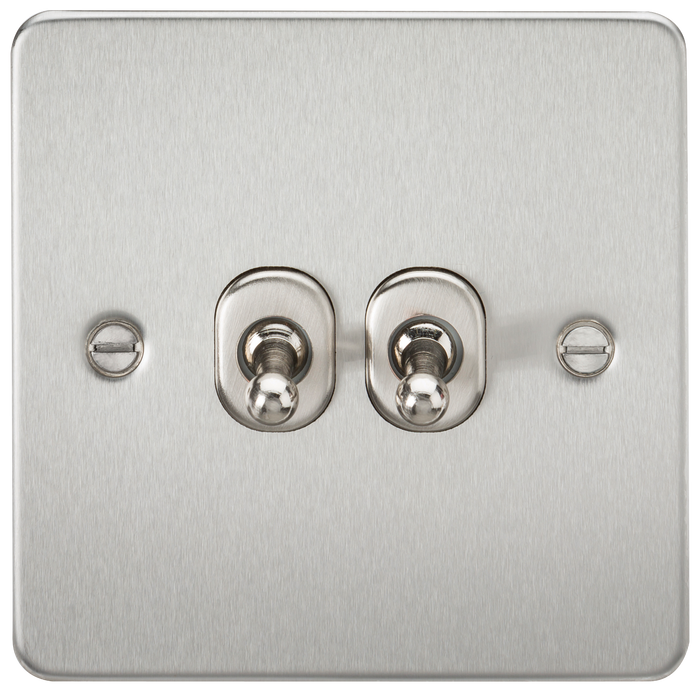 Flat Plate 10AX 2G 2-way toggle switch - brushed chrome