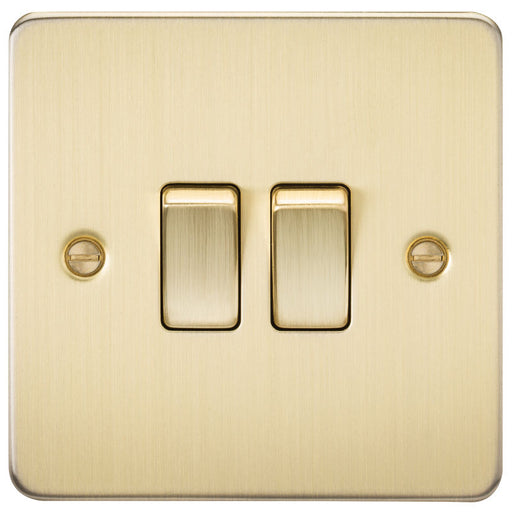 Brushed Brass 10A 2G Flat Plate Two-Way Switch - Steel City Lighting
