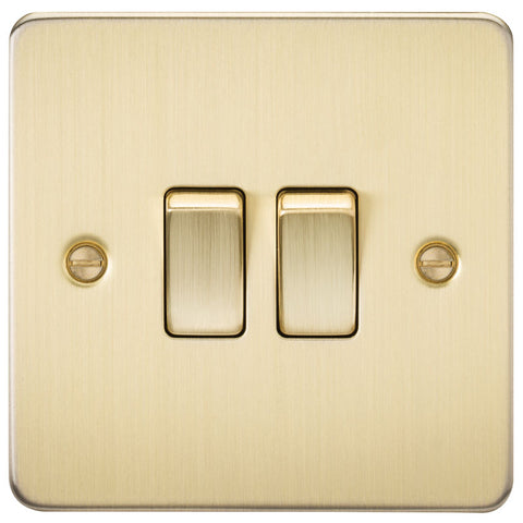 Brushed Brass 10A 2G Flat Plate Two-Way Switch