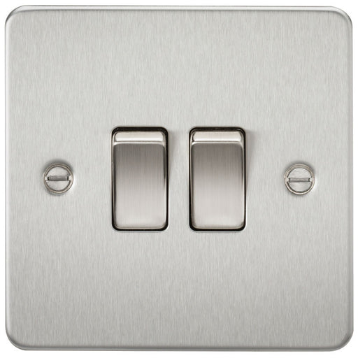 Brushed Chrome 10A 2G Flat Plate Two-Way Switch - Steel City Lighting