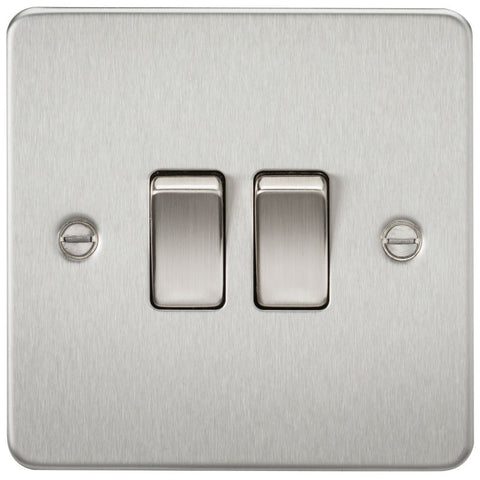Brushed Chrome 10A 2G Flat Plate Two-Way Switch