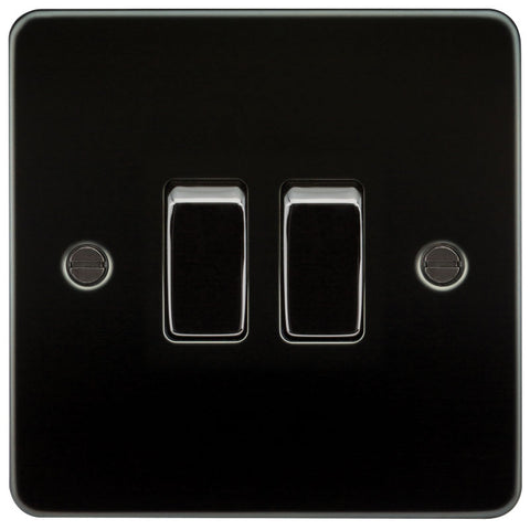 Gunmetal Finish 10A 2G Flat Plate Two-Way Switch