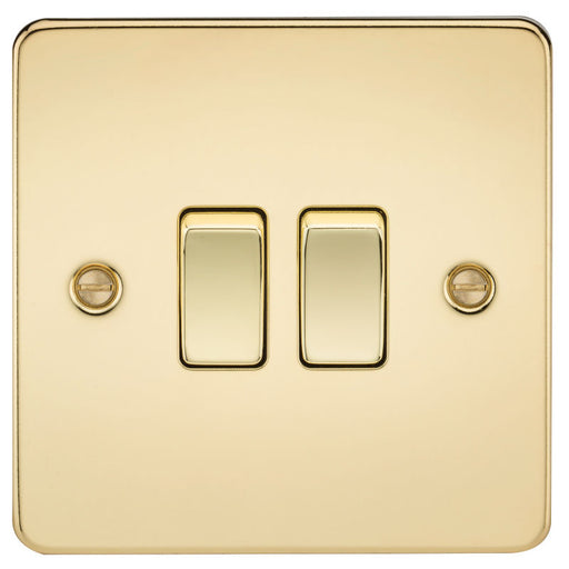 Polished Brass 10A 2G Flat Plate Two-Way Switch - Steel City Lighting