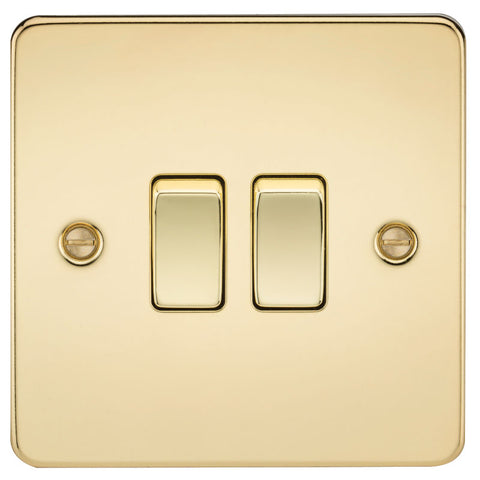 Polished Brass 10A 2G Flat Plate Two-Way Switch