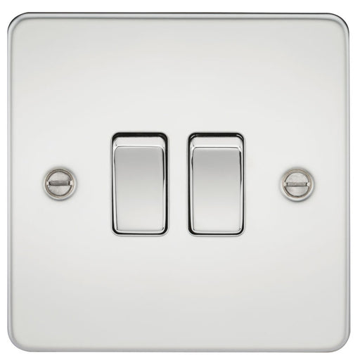 Polished Chrome 10A 2G Flat Plate Two-Way Switch - Steel City Lighting