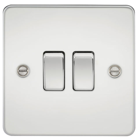 Polished Chrome 10A 2G Flat Plate Two-Way Switch