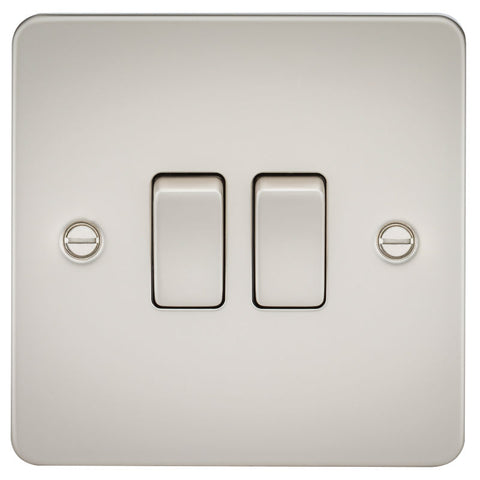 Pearl Finish 10A 2G Flat Plate Two-Way Switch