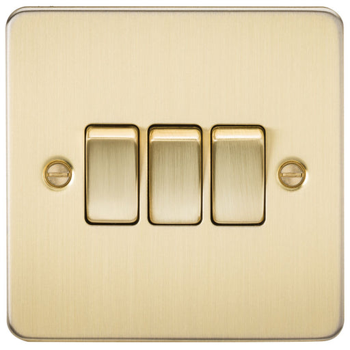 Brushed Brass 10A 3G Flat Plate Two-Way Switch - Steel City Lighting