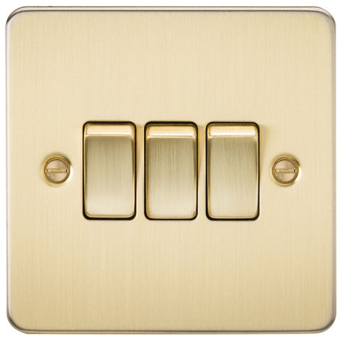 Brushed Brass 10A 3G Flat Plate Two-Way Switch