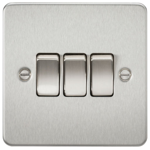 Brushed Chrome 10A 3G Flat Plate Two-Way Switch - Steel City Lighting