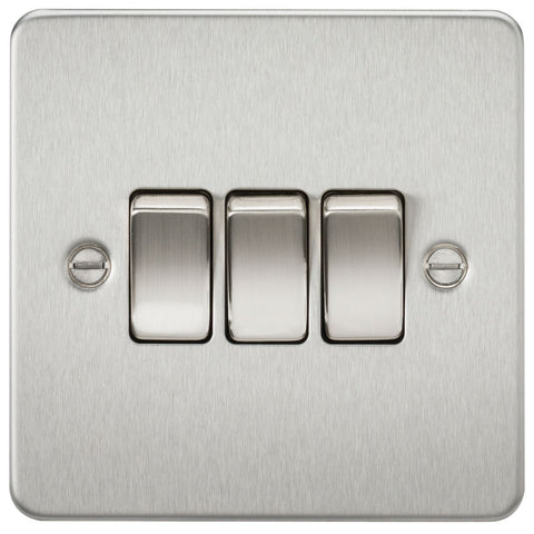 Brushed Chrome 10A 3G Flat Plate Two-Way Switch