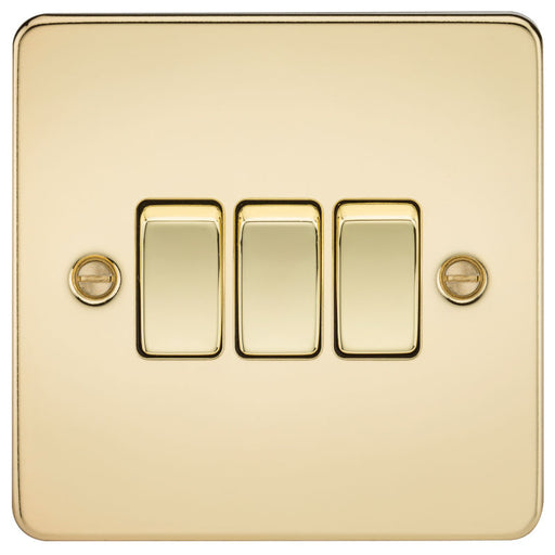 Polished Brass 10A 3G Flat Plate Two-Way Switch - Steel City Lighting