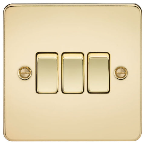 Polished Brass 10A 3G Flat Plate Two-Way Switch