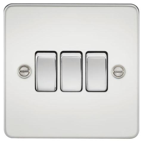 Polished Chrome 10A 3G Flat Plate Two-Way Switch