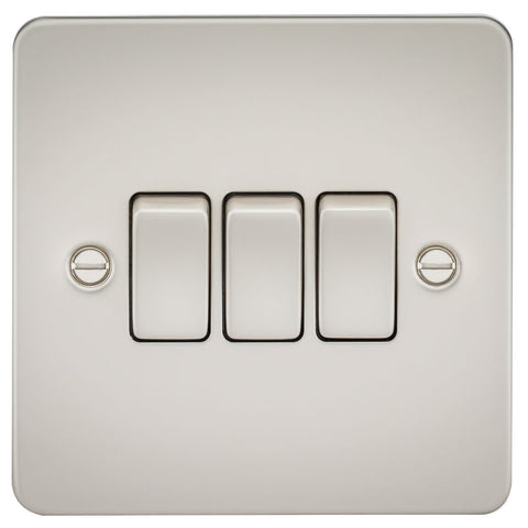Pearl Finish 10A 3G Flat Plate Two-Way Switch