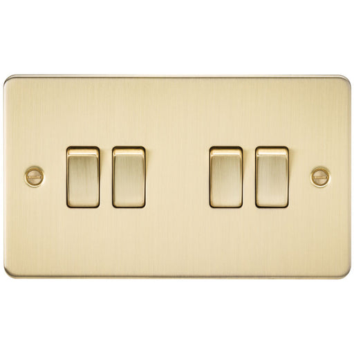 Brushed Brass 10A 4G Flat Plate Two-Way Switch - Steel City Lighting