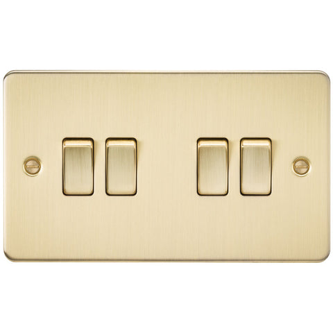 Brushed Brass 10A 4G Flat Plate Two-Way Switch
