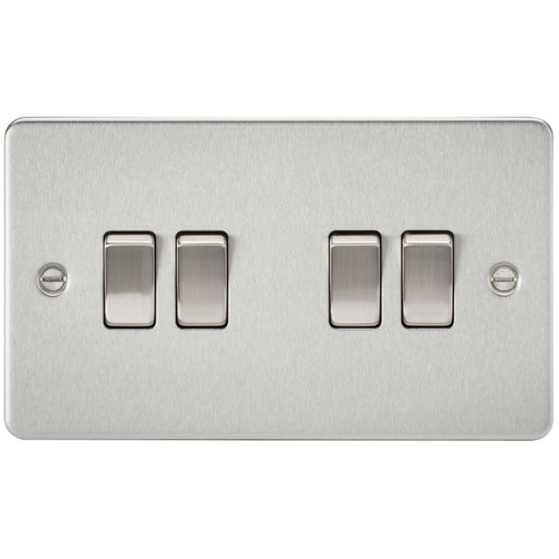 Brushed Chrome 10A 4G Flat Plate Two-Way Switch - Steel City Lighting