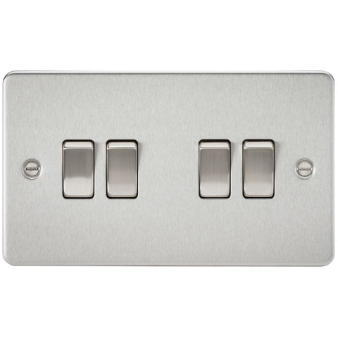 Brushed Chrome 10A 4G Flat Plate Two-Way Switch