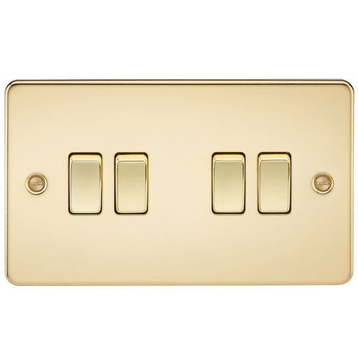 Polished Brass 10A 4G Flat Plate Two-Way Switch - Steel City Lighting