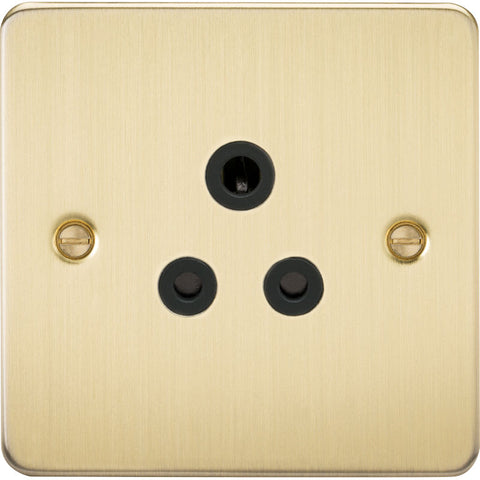 Brushed Brass 5A 1G Flat Plate Round Pin Socket