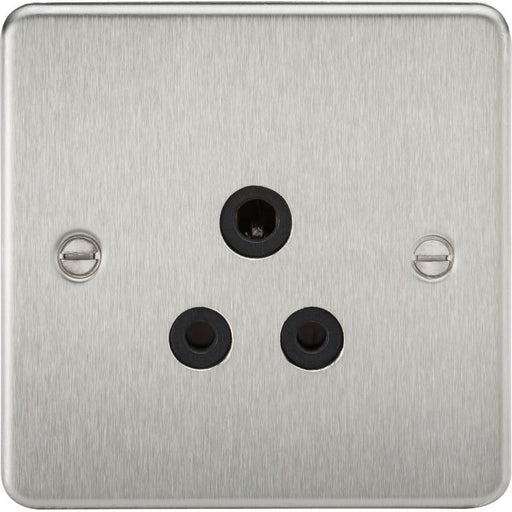 Brushed Chrome 5A 1G Flat Plate Round Pin Socket - Steel City Lighting