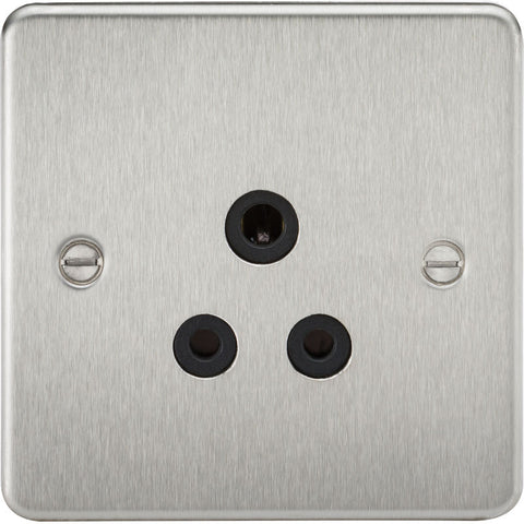 Brushed Chrome 5A 1G Flat Plate Round Pin Socket