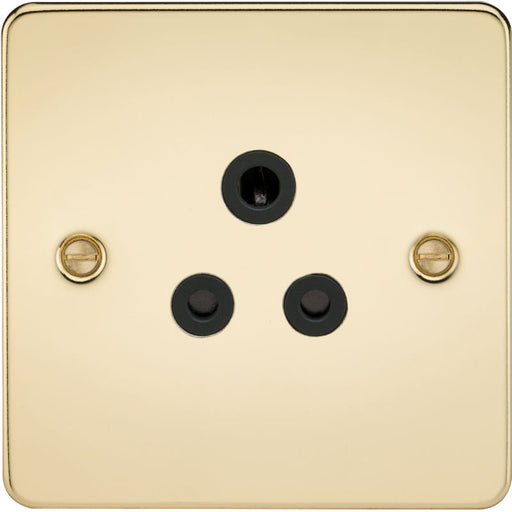 Polished Brass 5A 1G Flat Plate Round Pin Socket - Steel City Lighting