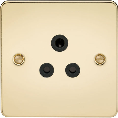 Polished Brass 5A 1G Flat Plate Round Pin Socket