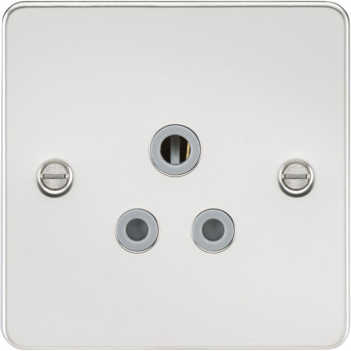 Polished Chrome 5A 1G Flat Plate Round Pin Socket - Steel City Lighting