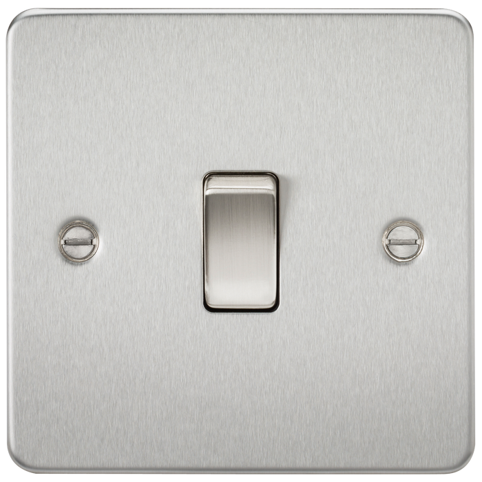 Flat Plate 20A 1G DP switch - brushed chrome