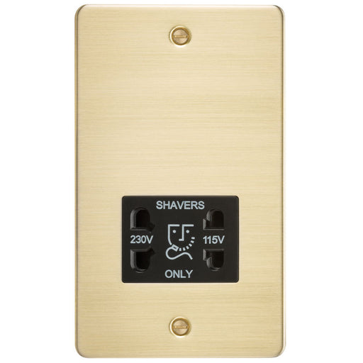 Brushed Brass Flat Plate Dual Voltage Shaver Socket - Steel City Lighting