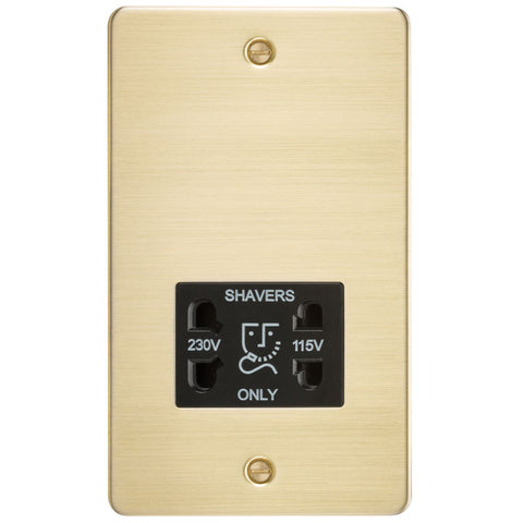 Brushed Brass Flat Plate Dual Voltage Shaver Socket