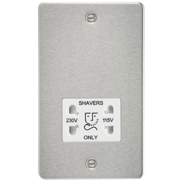 Brushed Chrome Flat Plate Dual Voltage Shaver Socket - Steel City Lighting