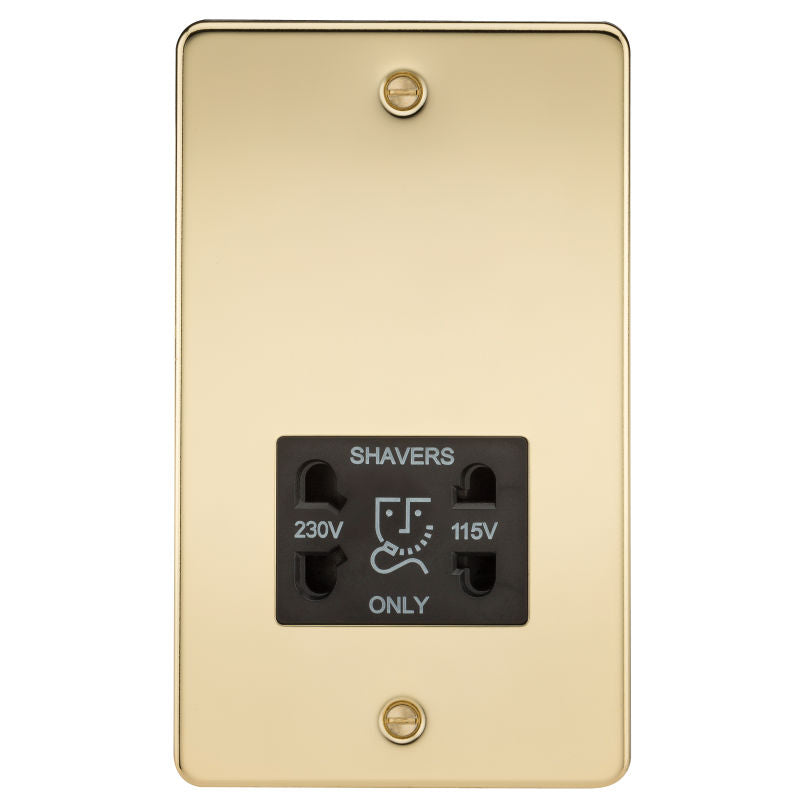 Polished Brass Flat Plate Dual Voltage Shaver Socket