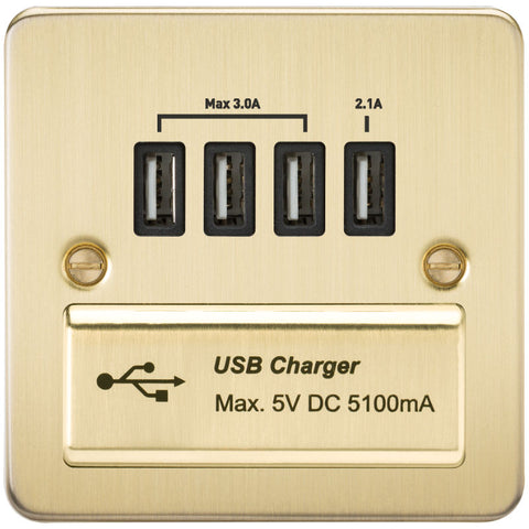 Brushed Brass 13A Flat Plate Quad USB Outlet