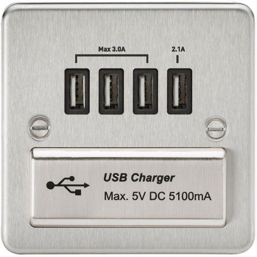 Brushed Chrome 13A Flat Plate Quad USB Outlet - Steel City Lighting