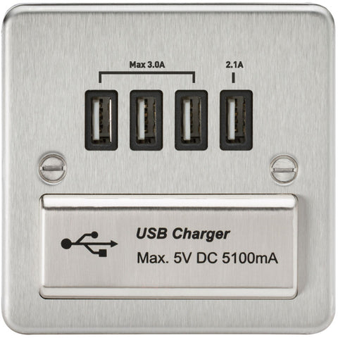 Brushed Chrome 13A Flat Plate Quad USB Outlet