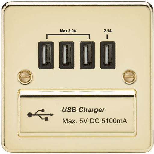 Polished Brass 13A Flat Plate Quad USB Outlet - Steel City Lighting