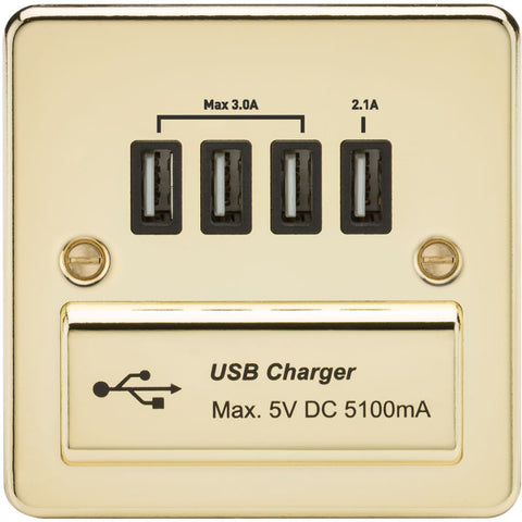 Polished Brass 13A Flat Plate Quad USB Outlet