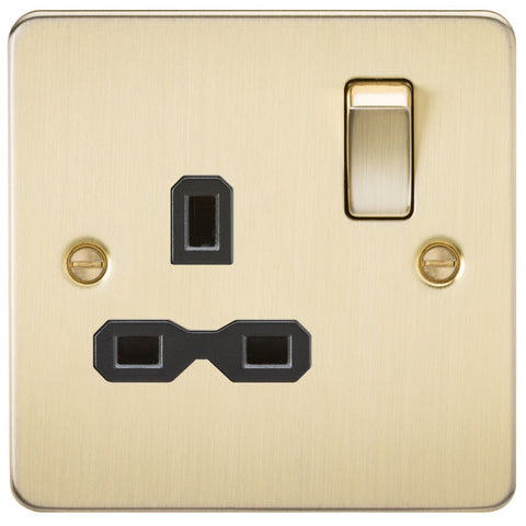 Brushed Brass 13A 1G DP Flat Plate Switched Socket