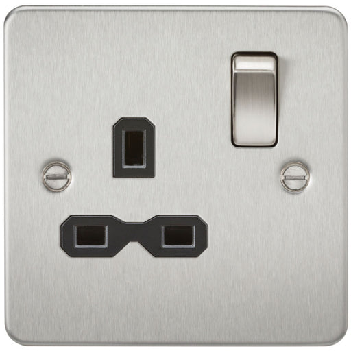 Brushed Chrome 13A 1G DP Flat Plate Switched Socket - Steel City Lighting