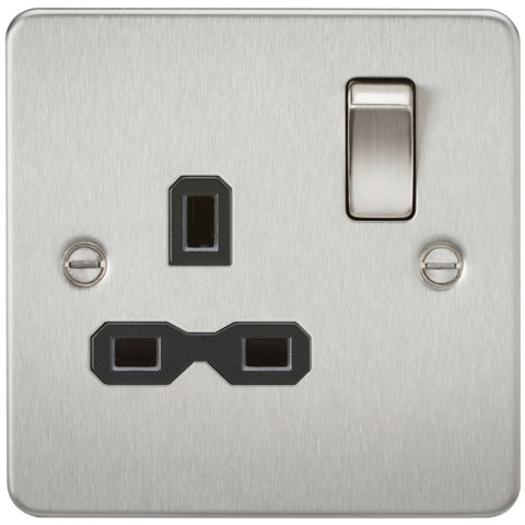 Brushed Chrome 13A 1G DP Flat Plate Switched Socket